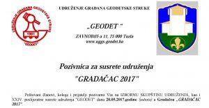 """Pozivnica za susrete udruženja """"GRADAČAC 2017"""""""